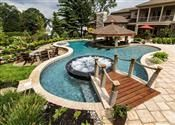 With a higher bridge this could be my lazy river.  2013 NESPA Award Winning Pools | Pool & Spa Outdoor