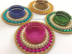 4 Colorful Tea light holders Traditional Indian decor