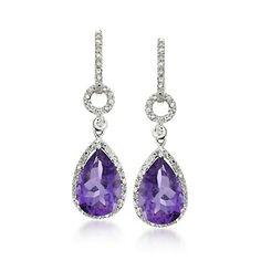 4.85 ct. t.w. Amethyst and Diamond Drop Earrings in Sterling Silver