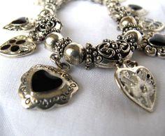 Vintage+Bracelet+Silver+and+Black+Charm+by+talesofcamelot+on+Etsy,+$44.50