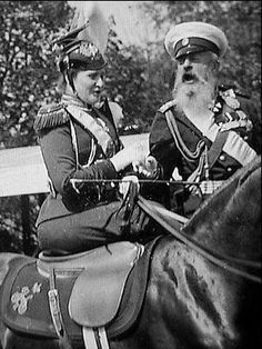Rare photo of the Tsarina on horseback, with Grand Duke Mikhail Nikolaievich (1832-1909)