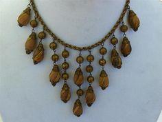 Art Deco Wooden Bead Fringe Bib Statement Necklace | eBay