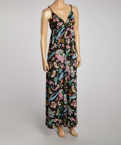 Love this Black & Green Paisley Maxi Dress - Women by Prime Garments on #zulily! #zulilyfinds Funky Print looks like the something that would go with the theme music of  the 1, 2, 3, 4..... Countdown from Sesame Street! I dig it!