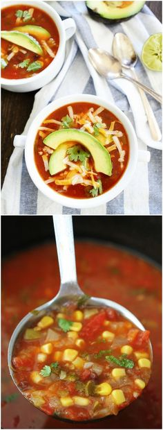 Slow Cooker Enchilada Soup Recipe on twopeasandtheirpod.com This easy crockpot soup is a family favorite! Serve with your favorite toppings!