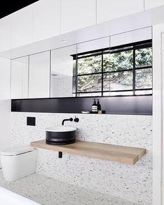 Top 38 Terrazzo Bathroom Tiles Inspire for Wall and floors - My Dream House Beautiful Bathrooms, Modern Bathroom, Small Bathroom, Modern Sink, Bathroom Sinks, White Bathroom, Bathroom Interior Design, Home Interior, Interior Livingroom