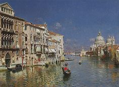 GONDOLAS IN THE GRAND CANAL VENICE ITALY PAINTING CLASSIC ART REAL CANVASPRINT