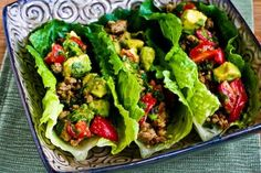 Turkey Lettuce Wrap Tacos with Chiles, Cumin, Cilantro, Lime and Tomato-Avocado Salsa was my Daily Phase One Recipes pick from this date in 2012!  [from Kalyn's Kitchen] #LowCarb  #SouthBeachDiet