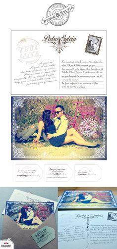 Invitación #postal estilo #vintage con etiquetas número de cuenta y cuño