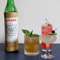 3 Fantastic Maraschino Cocktails, No Jarred Cherries Required 3 Cocktails mit Luxardo Maraschino Easy Cocktails, Classic Cocktails, Summer Cocktails, Cocktail Recipes, Cocktail Ideas, Liquor Drinks, Fun Drinks, Yummy Drinks, Beverages