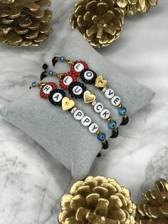 These are three different bracelets with special wishes for a happy new year. Choose your favorite wish between - LOVE - LUCK - HAPPY and get ready for a perfect 2020 year. Wish Bracelets, Handmade Bracelets, Handmade Products, Handmade Gifts, Charms, Adjustable Bracelet, Gifts For Her, Trending Outfits, Jewels