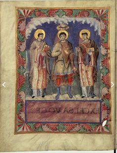 Charles le Chauve avec les papes Gélase et Grégoire Ier, dans le sacramentaire de Charles le Chauve (École de la cour de Charles le Chauve, vers 870, enluminure