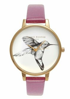 Olivia Burton Hummingbird Motif Watch in Gold and Berry