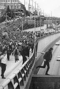 1970: University of Washington students during May 5th Seattle freeway protest.
