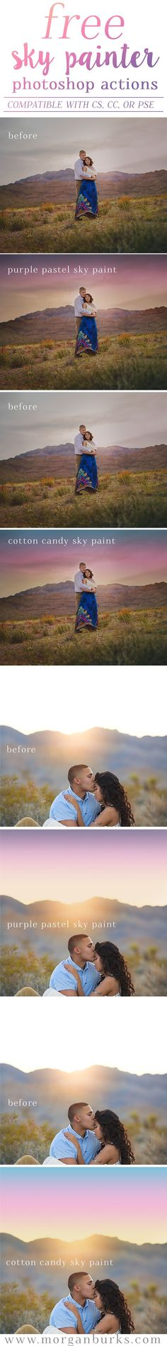Free sky painter actions!! Add gorgeous sky color with just a swipe of your brush! | Find more at www.morganburks.com
