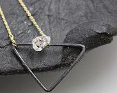 SALE - Oxidized triangle necklace with herkimer diamond necklace, mixed metals, bold, organic