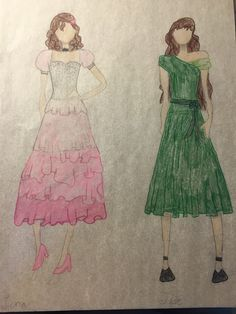School dance dresses part 3 - Luna (pink dress) and Tide (green dress)