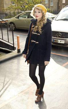 Taylor Swift - Fan of her style, not her music; yellow knit hat, black tights and oxford heels