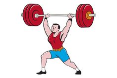 Weightlifter Lifting Barbell Isolate - Illustrations - 1