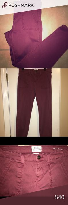 Comfy skinny jeans! Maroon skinny fit jeans! Worn once maybe twice.  Like Brand New! Mudd Pants Skinny