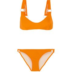 Solid and Striped + STAUD Romy bikini found on Polyvore featuring swimwear, bikinis, swimsuit, striped swimsuit, striped bathing suit, strappy bikinis, orange swimsuit and swimsuits two piece