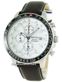 Watches For Sale like Seiko Pilot's Solar Alarm Chronograph Flightmaster Men's Watch has Stainless steel case, Brown leather strap, Hardlex crystal, Quartz Movement Seiko Pilot Watch, Seiko Solar, Solar Watch, Seiko Men, Dream Watches, Seiko Watches, Beautiful Watches, Watch Sale, Watches Online