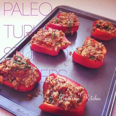 Paleo turkey stuffed peppers. Made these for dinner tonight. Pretty good but will add more spice next time :-)