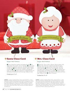 Paper Crafts - November/December 2013 - Page 40- Santa Claus & Mrs. Claus cards by Mendi Yoshikawa.