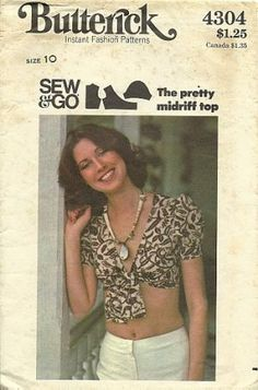 Butterick midriff top sewing pattern 4304 crop top S10 $5.99