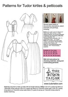 Women's Patterns - The Tudor Tailor This is a tudor kirtle - later than medival, but not quite into the stiffened Elizabethan ones. Working class, but as an underdress, can be worn as part of higher class costume. Renaissance Costume, Medieval Costume, Renaissance Clothing, Medieval Dress, Renaissance Fair, Patterns Of Fashion, Clothing Patterns, Sewing Patterns, Historical Costume