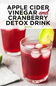 Apple Cider Vinegar and Cranberry Detox Drink - Skinny Ms. - Apple Cider Vinegar and Cranberry Detox Drink Need to press reset on your health and fitness goals? Cleanse, refresh, and revitalize with this apple cider vinegar and cranberry detox drink. Healthy Detox, Healthy Juices, Healthy Drinks, Healthy Life, Healthy Eating, Detox Juices, Quick Detox, Healthy Heart, Healthy Snacks
