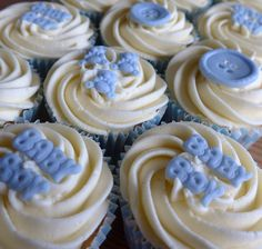 Baby boy cupcakes - vanilla sponge cupcakes filled with jam, topped with vanilla buttercream and handmade fondant decorations.