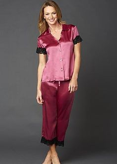 Tresor Delice Silk Button-Up Pajamas - Lace Trimmed Night Suit, Night Gown, Style Baby, Button Up Pajamas, Womens Pjs, Satin Lingerie, Satin Pajamas, Satin Slip, Beautiful Lingerie