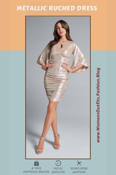 💥 METALLIC RUCHED DRESS Covered in stunning pearlescent shine, this one-of-a-kind bodycon puts you at the top of the evening's best dressed list. The side ruching lets your curves take the spotlight while providing a flattering finish that will amp up your confidence. Drapey kimono sleeves and a front keyhole finish the look with a stylishly sexy touch. #Fashion #partydress #outfit #womenswear #womensclothing #clothing #clothes #shoppingonline #chic #apparel #shopping #dresstoimpress Ruched Dress, Women's Fashion Dresses, Dress To Impress, Spotlight, Nice Dresses, Confidence, Curves, Party Dress, Kimono