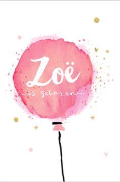 Origineel enkel geboortekaartje voor een meisje. Met groot getekende roze watercolor ballon, goud glamour kleurige sterren en hartjes. Alles staat los op dit kaartje en is zelf aan te passen. Enveloppen zijn los bij te bestellen.