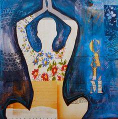 Yoga Calm Dark Blue Print 8x10 by FoundStudio on Etsy, $22.00