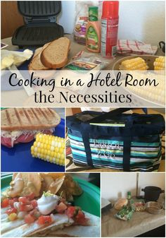 Necessities for Cooking in a Hotel Room :: A to Z Packing Tips Taking a vacation and want to keep food costs low? Check out these Necessities for Cooking in a Hotel Room to help you eat cheap and healthy while traveling! Road Trip Essen, Vacation Meal Planning, Vacation Food, Beach Vacation Meals, Beach Meals, Beach Trip, Living In A Hotel, Tiny Living, Road Trip Food