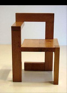 """Historical Design - Gerrit Rietveld """"Steltman"""" chair 1963 Oak H: 28"""" x W: 19"""" x D: 17 ½"""