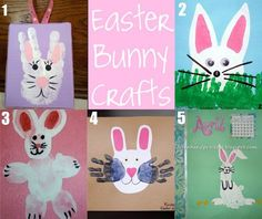 Hand and Footprint Easter crafts - Bunny Crafts for Kids