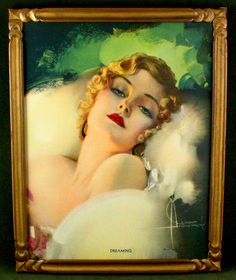 FRAMED ROLF ARMSTRONG PRINT DREAMING 1932 FLAPPER GIRL RARE IMAGE DECO