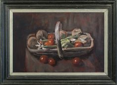 George Weissbort (1928-2013), A trug full of vegetables, oil on board, 40.6 x 60.6 cm. Reproduction late 19th century French ogee frame with painted finish