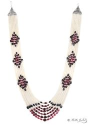 handmade in india - artisan pearl ruby sapphire necklace