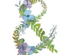 & letra flores floral Print