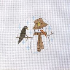 Primitive Snowman w/Crow and Snow  Handpainted Needlepoint Canvas #Unbranded