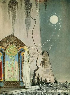 "Kay Nielsen, illustration to The Lassie and Her Godmother, from ""East of the Sun, West of the Moon"", ""She could not help setting the door a little ajar, just to peep in, when—Pop! out flew the Moon."""