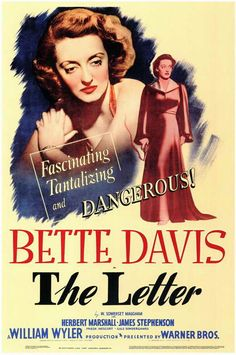 The Letter is a 1940 American film noir directed by William Wyler. Description from gordonosd.jimdo.com. I searched for this on bing.com/images