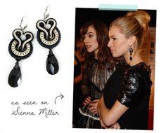 La splendida Sienna Miller con orecchini neri in Soutache semplicemente chic!
