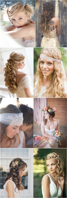 LOVE the 2nd one down on the left - Long curls blonde pulled back! Would look beautiful on Brienanna for wedding hair curly updo style. Could clip in some of my blonde extensions under and curl into to add the volume? Would look AMAZING!