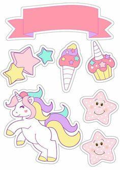 @AranzaDrive ❁ Unicorn Themed Birthday Party, Birthday Party Themes, Printable Stickers, Cute Stickers, Unicorn Drawing, Unicorn Printables, Unicorn Pictures, Unicorn Cake Topper, Birthday Cake Toppers