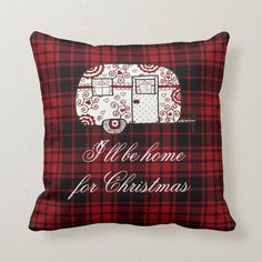 I'll be home for Christmas little camper Throw Pillow Camping Pillows, Tent Camping, Camping Ideas, Glamping, Little Campers, Christmas Card Holders, Custom Pillows, Christmas Home, Aesthetic Wallpapers