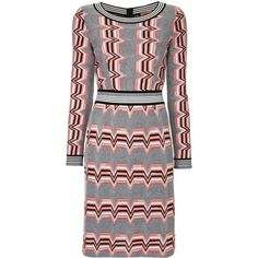 Missoni zig zag knitted dress ($1,500) ❤ liked on Polyvore featuring dresses, grey, grey dress, missoni, missoni dress, zigzag dress and zig zag dress